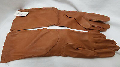 NWT Talbots Caramel Leather Gloves W/ Silk Lining Size M (750)