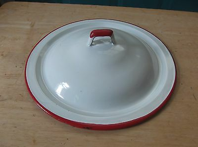 Vintage White Lid for an Enamelware Pan with Red Trim