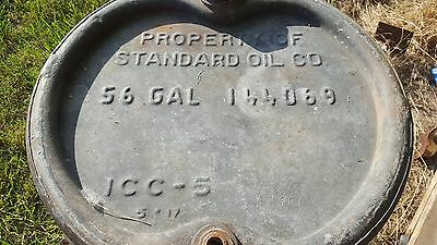 Antique Vintage Standard Oil 56 Gallon Galvanized Drum Man Cave Display Piece