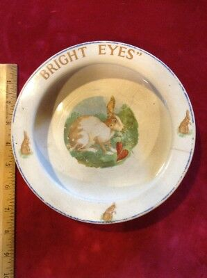 VINTAGE Childs Baby Plate with Bunny BRIGHT EYES Decal Elpco USA