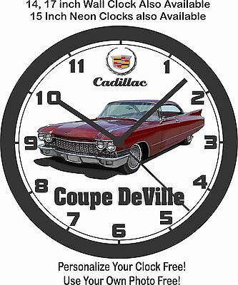 1960 CADILLAC COUPE DeVILLE WALL CLOCK-FREE USA SHIP, LINCOLN, CHEVROLET