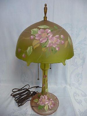 Amazing Vintage French Satin Glass Enameled Lamp, Socket & Finial Not Original
