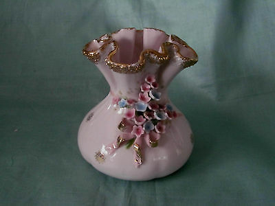 Pink Porcelain Vintage 50s LEFTON China Money Bag Vase~Raised Flowers w/ Bow