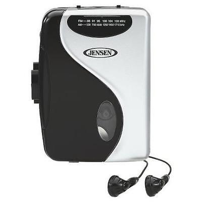 Jensen AM FM Black and Silver Cassette Player Play Fast Forward Stop and Earbuds
