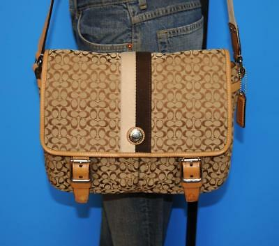 COACH Small Voyage Signature Brown Jacquard Leather Messenger Bag Purse 70182
