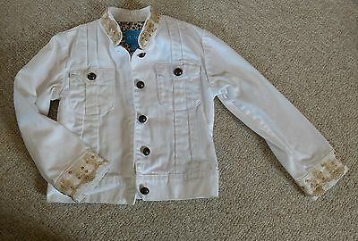 The childrens place girls white GOLD sequin jean jacket size 5/6  PERFECT