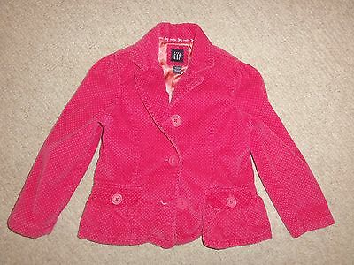 Girl's BABY GAP PINK POLKA DOT corduroy jacket button UP SIZE 5 YEARS