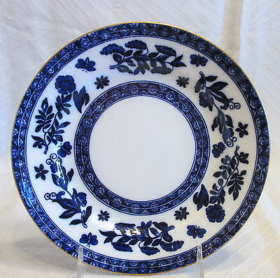 "Antique Coalport Porcelain Fine China Cobalt Blue&White Flowers Bird 8"" Plate"