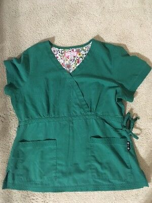 Koi Scrubs Top Large L Green Nurse Medical Uniform Shirt