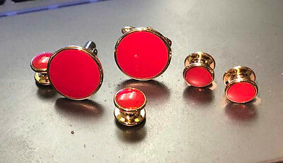 Tuxedo Set  Red Cufflinks And Studs  Free Shipping
