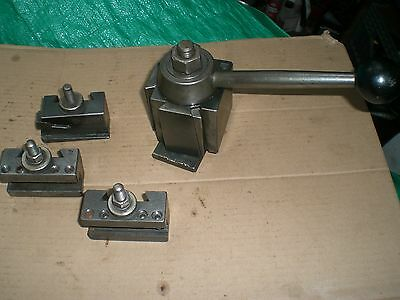 Genuine Aloris BXA Quick Change Lathe Tool Post Holder  and 3 tool holders