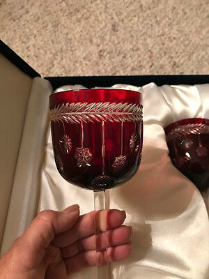 Faberge Holiday Crystal Wine Glasses, Set Of Two, New In Box~Stunning Unused
