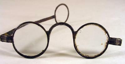 Antique Steel  Eyeglasses Spectacles With Wig Hoop End With One Missing