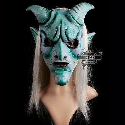 Latex Gray Hair Claw Devil Mask Cosplay Halloween Party Costume Fancy Dress Prop