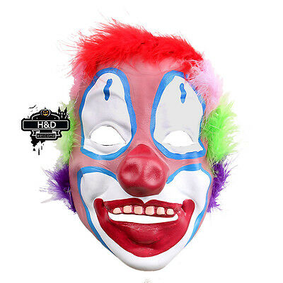 Adult Latex Scary Colorful Hair Clown Mask Halloween Party Dress Costume Prop