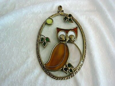 Antique Glass and Metal Owl Suncatcher~7 Inches~High Quality~EXC