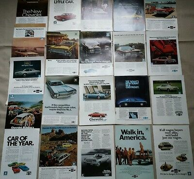 Lot Of 21 1970-79 Chevy Chevrolet Various Models Car Print Ads Magazine Vintage
