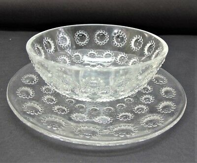 "ORIGINAL RENE LALIQUE (French, 1860-1945) ""Asters""  Finger Bowl & Plate  c. 1930"