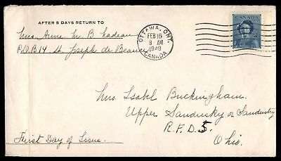 February 16, 1948 Ottawa Canada cover to Sandusky Ohio first day cover