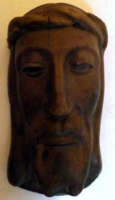 """Antique Hand Carved Wood Head of Jesus Christ 4.5x8.5"""" Christian Religious Art"""