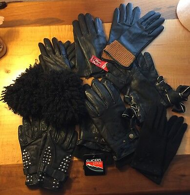 Lot of 7 Pairs of Black Leather Designer Brand Gloves Size S M L Vera Wang