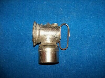 1901 Antique Nickel Justrite  Horizontal Coal Mine Mining Carbide Lamp Light