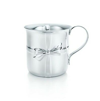 New Tiffany & Co Sterling Silver Baby Bows Cup Pouch Box