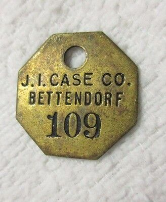 J. I. Case Co.  Bettendorf Ia Iowa Plant # 109  Brass Tool Check Marker / Token