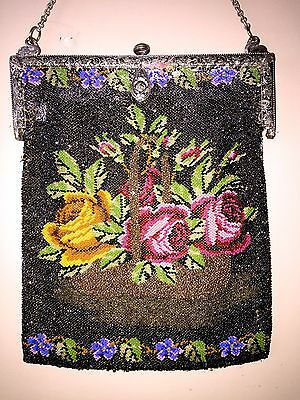 Large Antique Victorian Micro Glass Beaded Purse~Basket of Roses