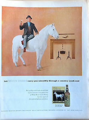 1957 magazine ad for White Horse Scotch Whiskey - White Horse on country weekend