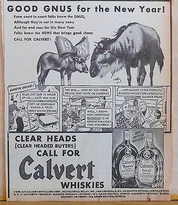 1937 newspaper ad for Calvert Whiskies - Good Gnus for the New Year!, comic ad