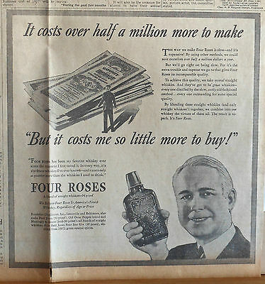 1936 newspaper ad for Four Roses Whiskey - Costs over half million more to make