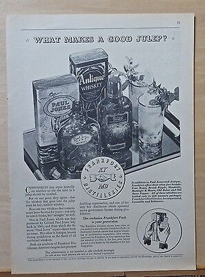 1934 magazine ad for Frankfort Distillers - What Makes A Good Julep?