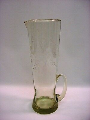 """Antique Hand Blown Cut Clear Glass Tall Pitcher 12"""" Punch Beverage"""