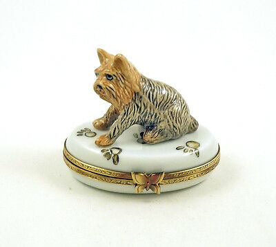 New French Limoges Trinket Box Cute Yorkshire Terrier Yorkie Dog Puppy