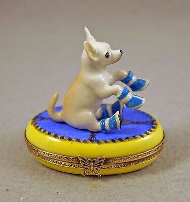 NEW FRENCH LIMOGES TRINKET BOX CHIHUAHUA DOG PUPPY in SHOES ON RUG WITH TASSELS