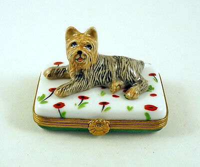 NEW FRENCH LIMOGES BOX CUTE YORKSHIRE TERRIER YORKIE DOG PUPPY on POPPY FLOWERS