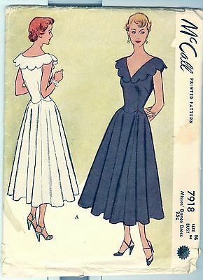 Vintage 40s McCall 7918 Dress Pattern Size 16 Bust 34 Scallops