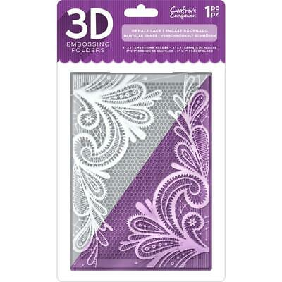 PRE-ORDER Crafter's Companion 3D Embossing Folder 5x7 Ornate Lace