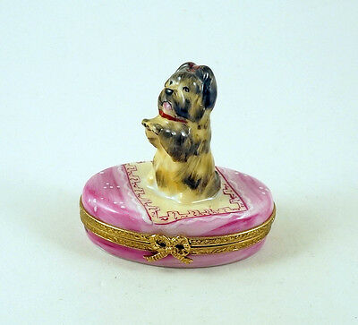 NEW FRENCH LIMOGES BOX CUTE YORKSHIRE TERRIER YORKIE DOG PUPPY on PINK RUG