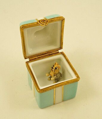 New French Limoges Trinket Box Turquoise Gift Box W Gold Bow & Yorkie Dog