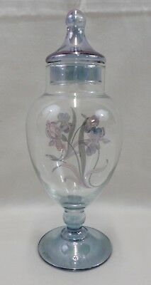 "10"" Blue Tinted Clear Glass Lidded Pedestal Apothecary Jar w/ Floral Decal (639)"