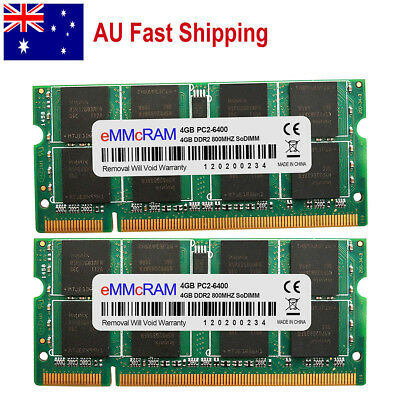 AU 8GB KIT 2x4GB PC2-6400 DDR2-800 200pin Dell Latitude 6400 6500 Laptop Memory