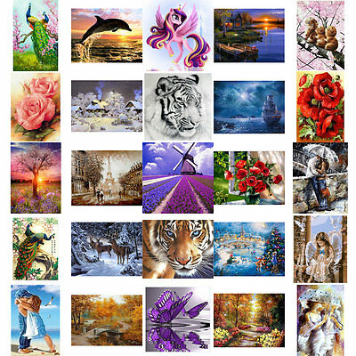 HOT DIY 5D Diamond Embroidery Painting Cross Stitch Kit Flower Animal Home Decor