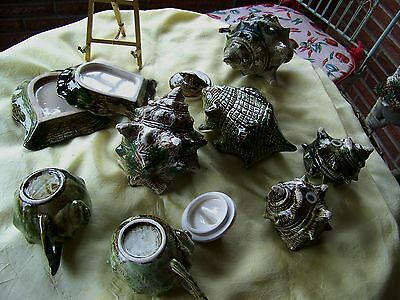 "Vintage Conch Ocean Sea Shell Small Majolica? Pottery Teapot "" Large Lot """