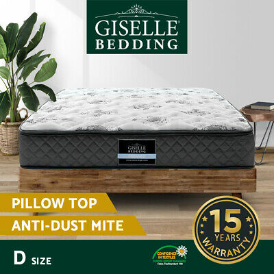 Giselle Bedding DOUBLE Size Bed Mattress Pillow Top Foam Pocket Spring 24CM
