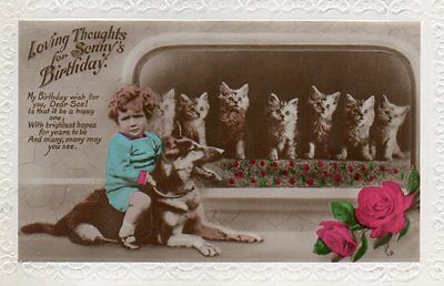 VINTAGE BIRTHDAY GREETING postcard CHILD WITH GERMAN SHEPHERD DOG & KITTEN CATS