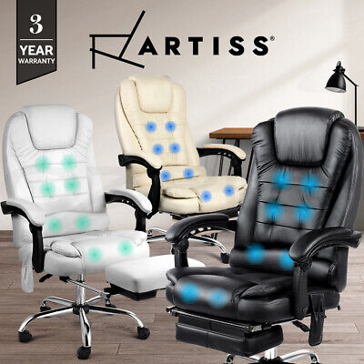 Artiss 8 Point Electric Massage Office Chairs Executive Computer Heated Recliner