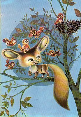 CUTE postcard of FOX IN A TREE WITH BIRDS & NEST