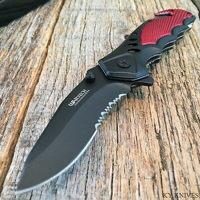"WARTECH USA Red 8"" Tactical Spring Assisted Opening Rescue Pocket Knife New-TH"